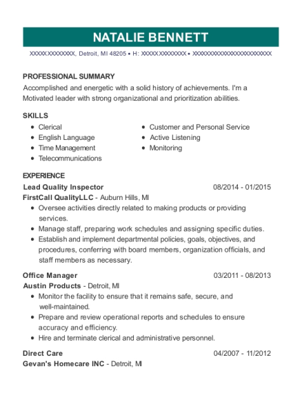 Lead Quality Inspector resume template Michigan