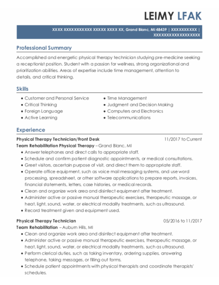 Physical Therapy Technician resume template Michigan