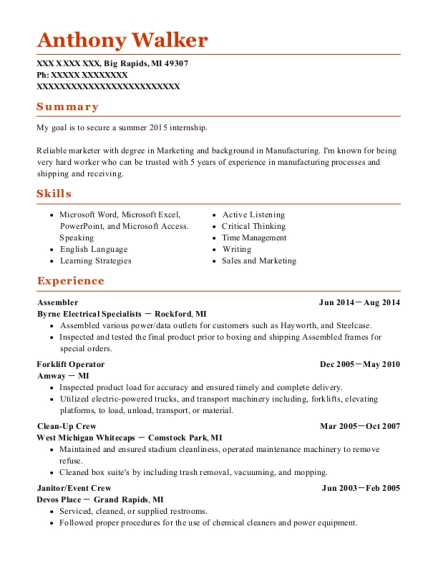 Assembler resume template Michigan