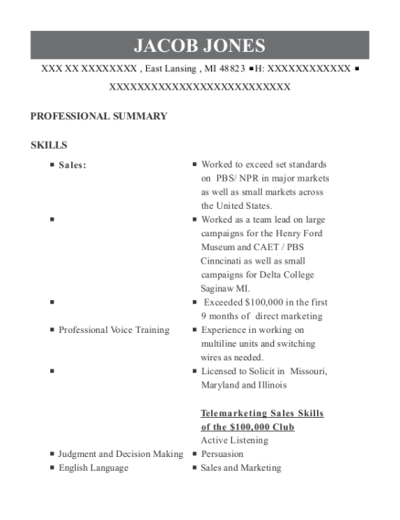 HHA resume format Michigan
