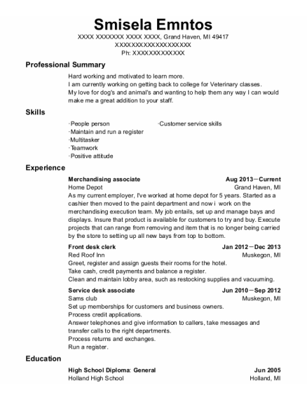 Merchandising Associate resume sample Michigan