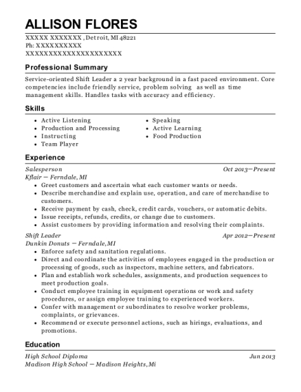 Salesperson resume sample Michigan