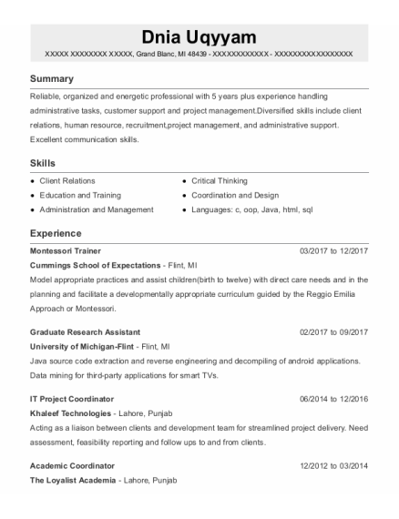 Graduate Research Assistant resume template Michigan