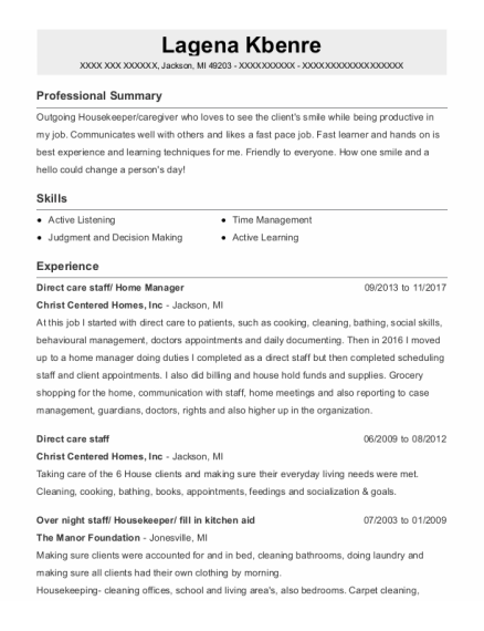 Direct care staff resume template Michigan