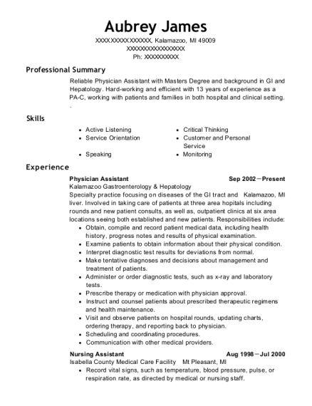 Physician Assistant resume template Michigan