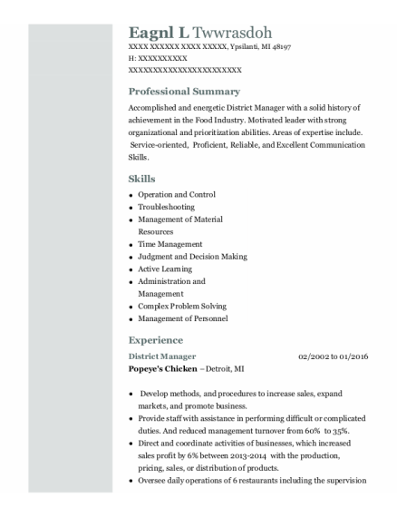 District Manager resume example Michigan