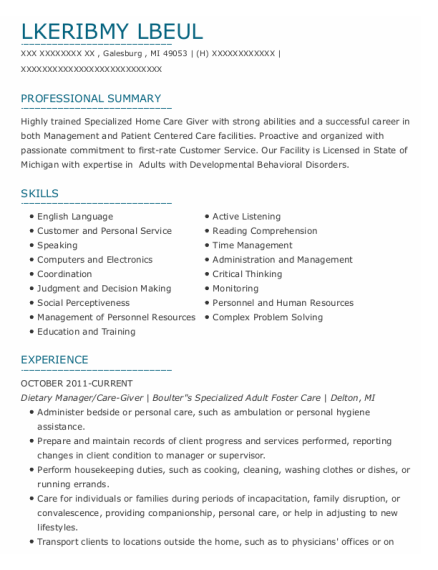 Dietary Manager resume format Michigan
