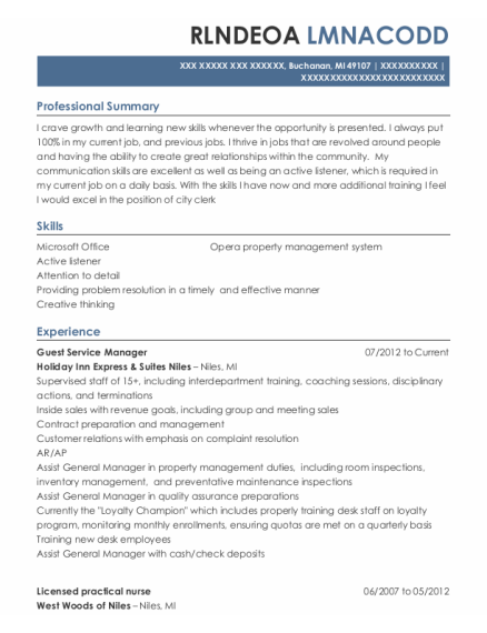 Guest Service Manager resume example Michigan