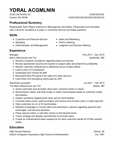 Manager resume format Michigan