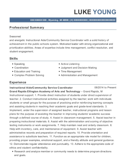 Instructional Aide resume format Michigan