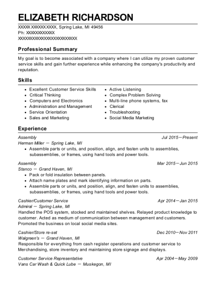 Assembly resume template Michigan