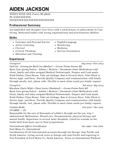 Caregiver resume example Michigan