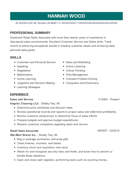 Sales and Service resume format Michigan