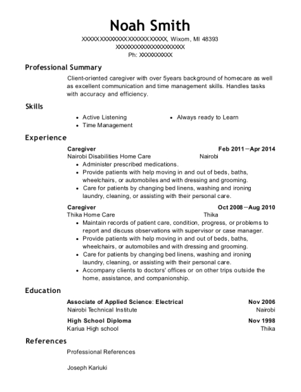 Caregiver resume sample Michigan