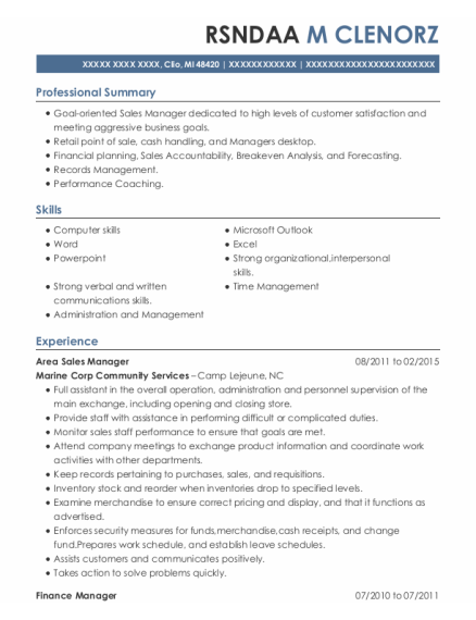 Area Sales Manager resume format Michigan