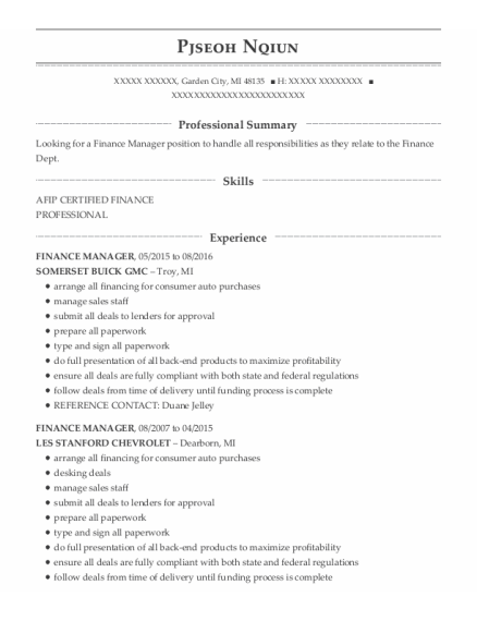 Finance Manager resume template Michigan