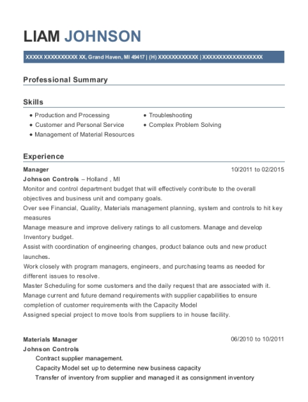 Manager resume example Michigan