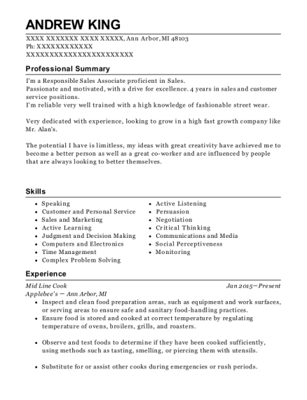 Mid Line Cook resume sample Michigan