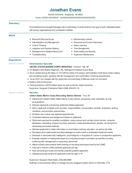 Administration Specialist resume template Michigan