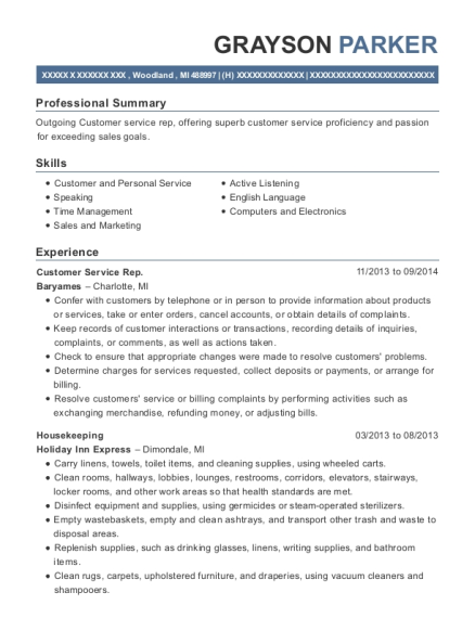 Customer Service Rep resume sample Michigan