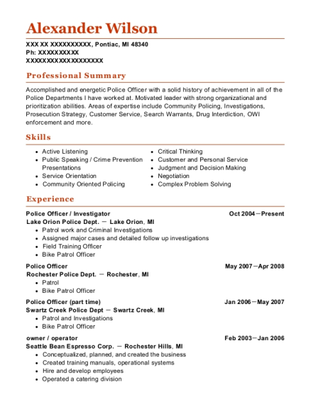 Police Officer resume format Michigan
