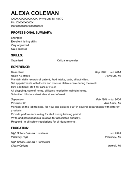 Care Giver resume format Michigan