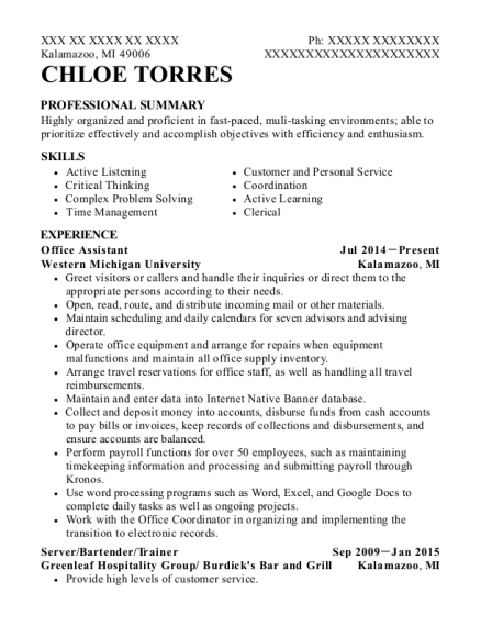 Office Assistant resume sample Michigan