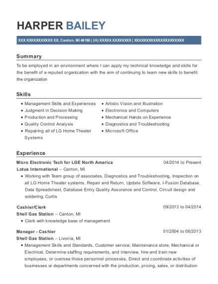 Micro Electronic Tech for LGE North America resume example Michigan