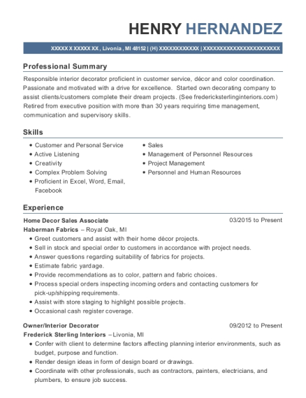 Home Decor Sales Associate resume template Michigan