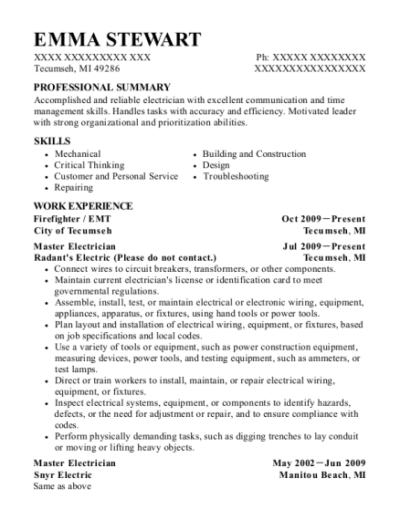 Firefighter resume example Michigan