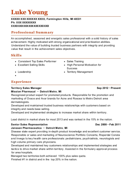 Territory Sales Manager resume template Michigan