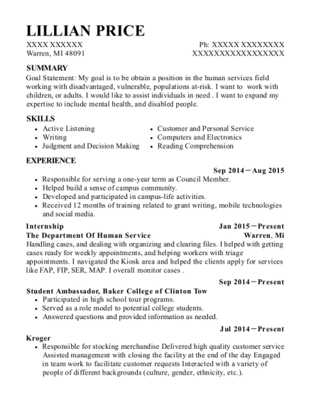 Internship resume template Michigan