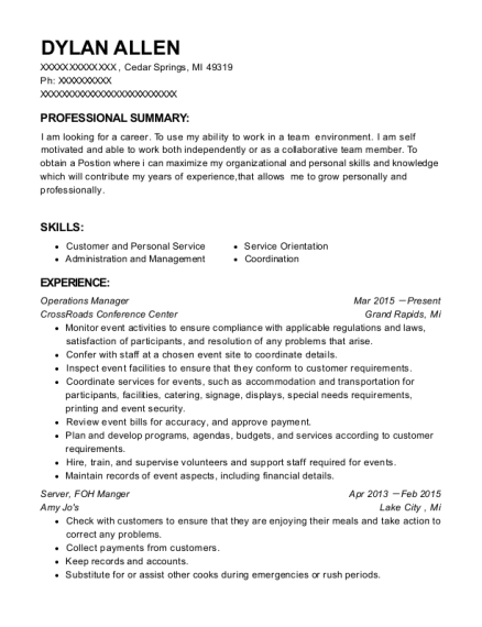 Operations Manager resume format Michigan