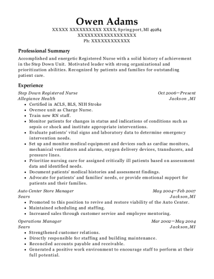 Step Down Registered Nurse resume example Michigan