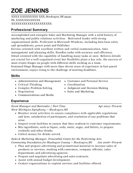 Event Manager and Bartender resume template Michigan