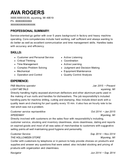 FAB Machine operator resume example Michigan