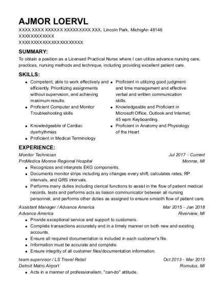 Monitor Technician resume sample MICHIGAN
