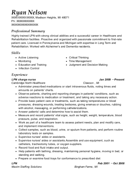 LPN charge nurse resume sample Michigan