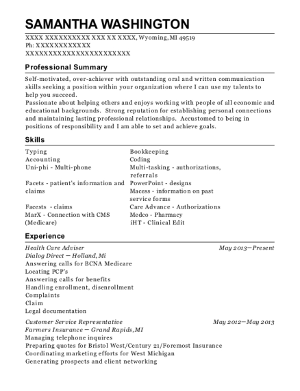 Health Care Adviser resume sample Michigan