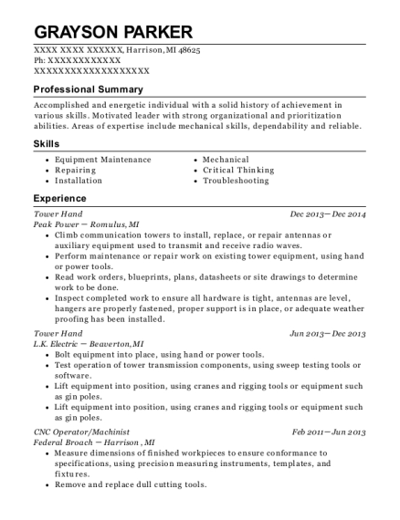 Tower Hand resume template Michigan