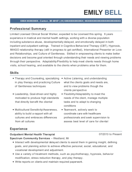 Outpatient Mental Health Therapist resume example Michigan