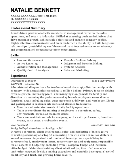 Operations Manager resume example Michigan