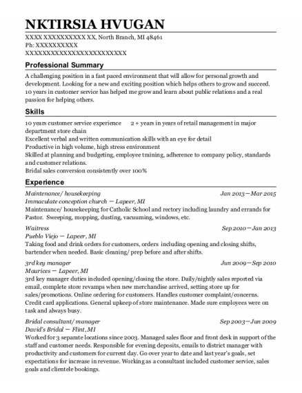 Maintenance resume template Michigan