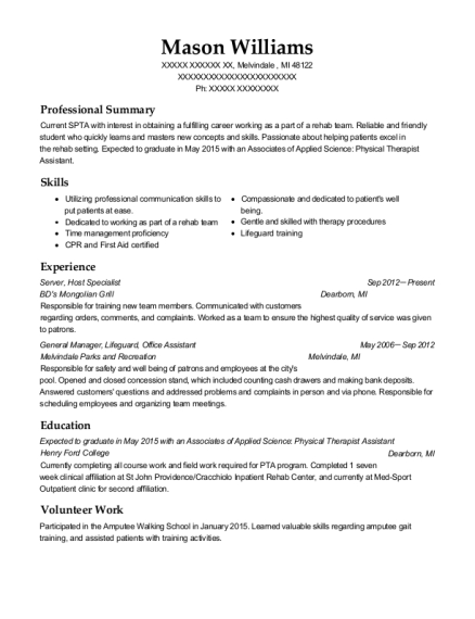 Server resume sample Michigan