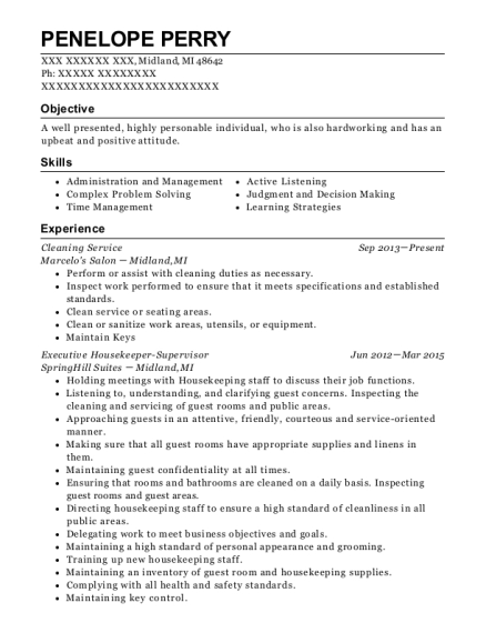 Cleaning Service resume example Michigan