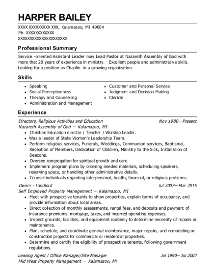 Directors resume example Michigan