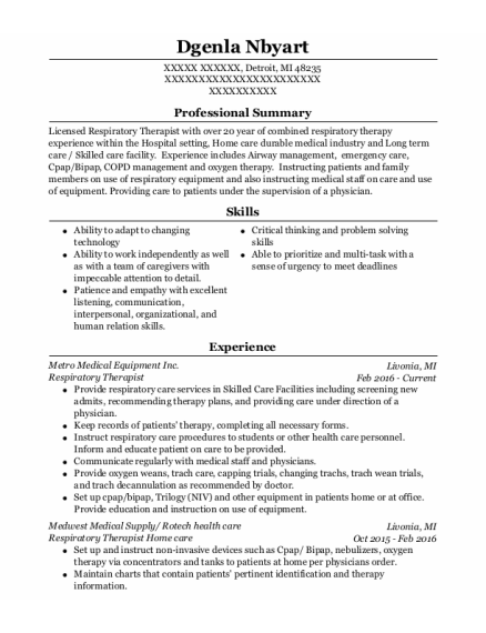 Respiratory Therapist resume template Michigan