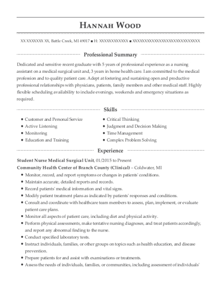 Student Nurse Medical Surgical Unit resume sample Michigan