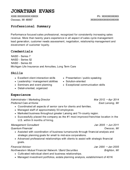Administrator resume sample Michigan