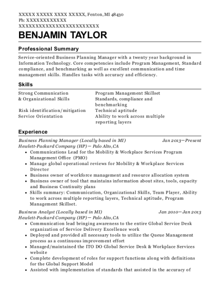 Business Planning Manager resume sample Michigan